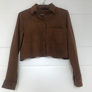 Zara Suede Cropped Button-Up Shirt Size XS